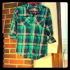Green boys Tommy Plaid shirt
